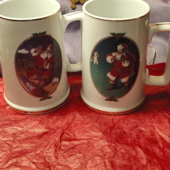Coca-Cola Santa Christmas vintage mugs